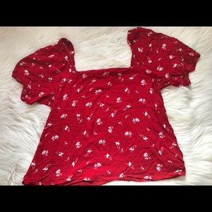 A New Day Red Floral Top